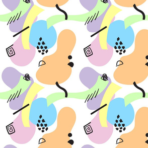 Abstract Pastel Shapes Lined