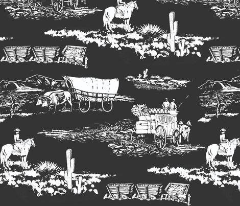 Western Wheels Toile fabric by agregorydesigns on Spoonflower - custom fabric