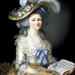 Marie Antoinette inspired white gowns baroque victorian blue satin bows big straw hat beautiful lady woman tulle white flowers floral music books musical note vintage shabby chic antique beauty rococo portraits  elegant gothic lolita egl 18th century neoc