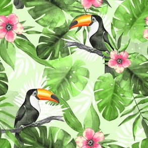 Tropical pattern with Toucans