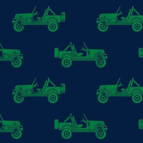 jeeps - green on navy