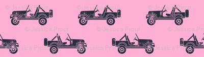 jeeps - blue on pink