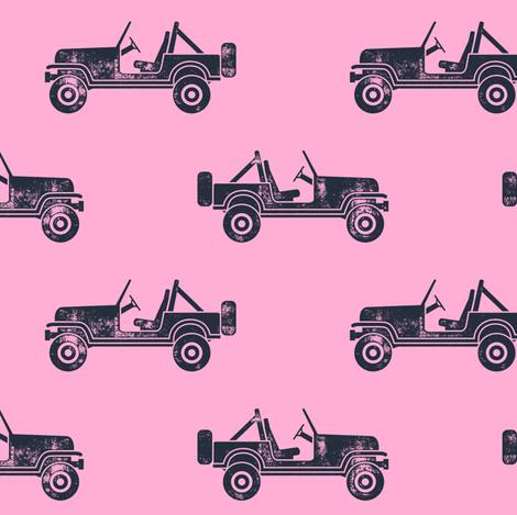 jeeps - blue on pink fabric by littlearrowdesign on Spoonflower - custom fabric