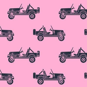 jeeps - blue on pink