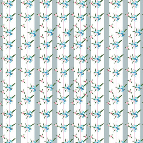 Floral pattern with vertical stripes and wild flowers