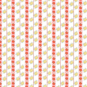 Floral pattern with roses and vertical stripes