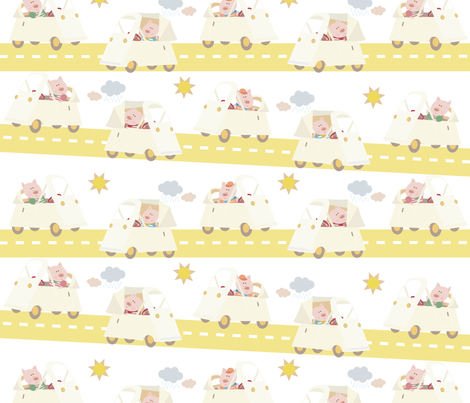 Pig and car fabric by yinglee on Spoonflower - custom fabric