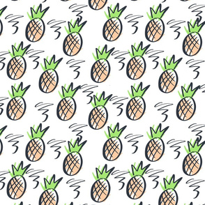 Pineapples pattern. Pattern with tropical fruits.