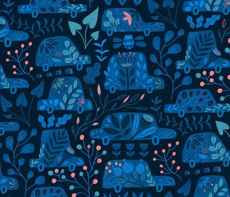 Flowers cars. Botanical transport. Plants and berries. fabric by kostolom3000 on Spoonflower - custom fabric