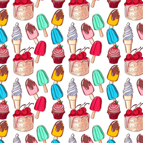 Pattern with the ice cream and cake.