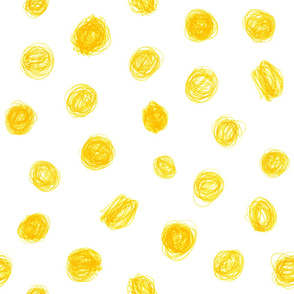 extra-large crayon polkadots in yellow