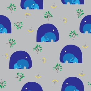 Blue Elephant Family with Accent Leaves