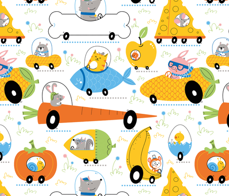 animal transport food cars fabric by gnoppoletta on Spoonflower - custom fabric