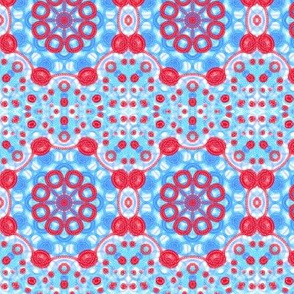 Red, White and Blue Funky Dot Plaid