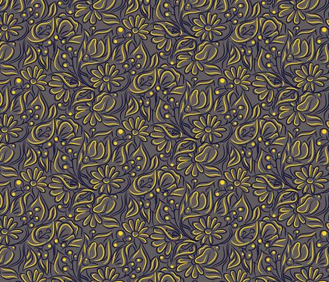 Blue and yellow flowers fabric by yopixart on Spoonflower - custom fabric