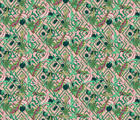 Tropical garden fabric by yopixart on Spoonflower - custom fabric