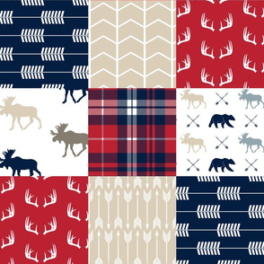 Woodland patchwork - red, navy, tan - arrows, moose, bear patchwork