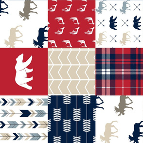 Woodland patchwork - red, navy, tan - arrows, moose, bear patchwork  (90)