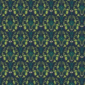 Damask flower green pattern