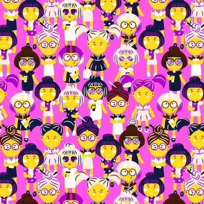 Fashion girls group pattern