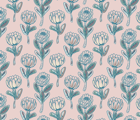 Protea rustic flowers fabric by yopixart on Spoonflower - custom fabric