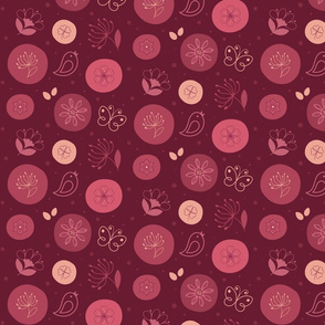 Flowers and birds (red)