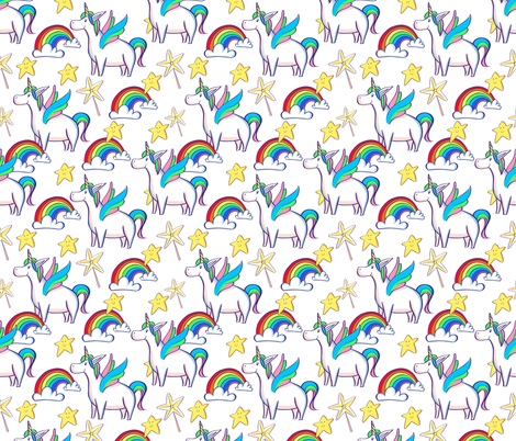 Unicorns and rainbows fabric by irina_popova on Spoonflower - custom fabric