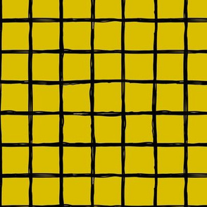Abstract geometric minimal checkered check grid black stripe trend pattern mustard yellow