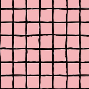 Abstract geometric minimal checkered check grid black stripe trend pattern mustard pink