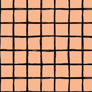 Abstract geometric minimal checkered check grid black stripe trend pattern mustard peach apricot