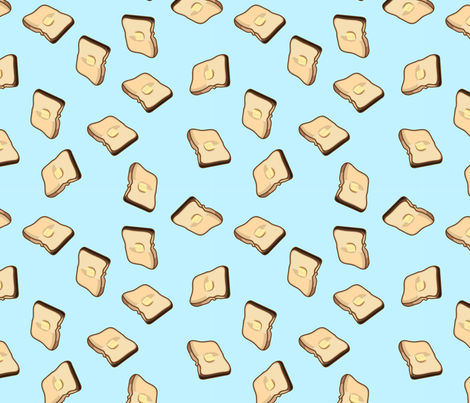 Buttered Toast, Blue fabric by bambi_illustrates on Spoonflower - custom fabric