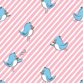 blue birds - pink