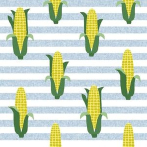 Corn vegetables vegan fabric summer foods stripe blue