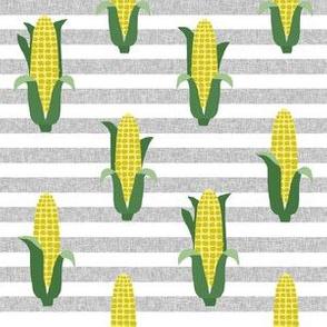 Corn vegetables vegan fabric summer foods stripe grey