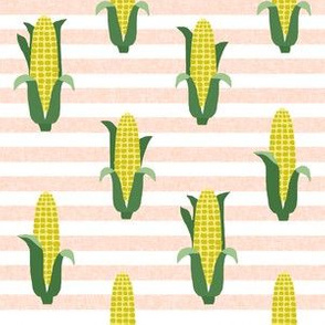 Corn vegetables vegan fabric summer foods stripe pink