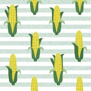 Corn vegetables vegan fabric summer foods stripe green