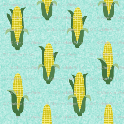 Corn vegetables vegan fabric summer foods green