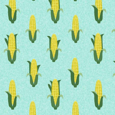 Corn vegetables vegan fabric summer foods green fabric by charlottewinter on Spoonflower - custom fabric