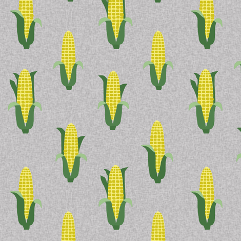 Corn vegetables vegan fabric summer foods grey fabric by charlottewinter on Spoonflower - custom fabric