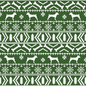 basenji  fair isle christmas silhouette dog breed fabric green