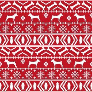 basenji  fair isle christmas silhouette dog breed fabric red