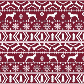 basenji  fair isle christmas silhouette dog breed fabric ruby