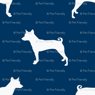 basenji  silhouette dog breed fabric navy