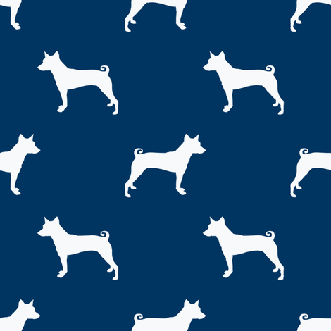basenji  silhouette dog breed fabric navy fabric by petfriendly on Spoonflower - custom fabric