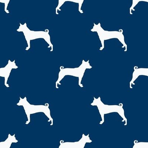 basenji  silhouette dog breed fabric navy