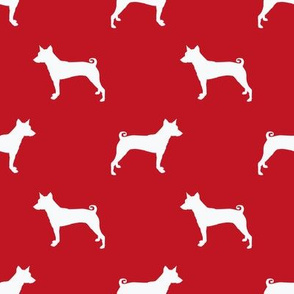 basenji  silhouette dog breed fabric red