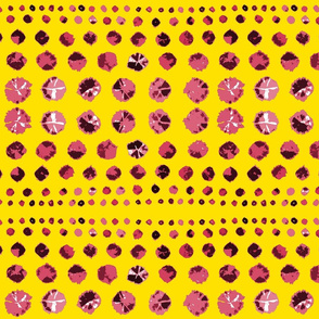Shibori Abstract Raspberry on Yellow