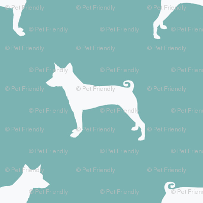 basenji  silhouette dog breed fabric blue
