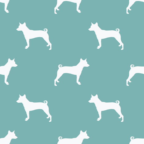 basenji  silhouette dog breed fabric blue fabric by petfriendly on Spoonflower - custom fabric