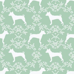basenji floral silhouette dog breed fabric mint